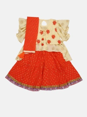 Ivory Printed and Embroidered Linen Ghagra Choli Set