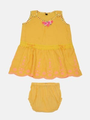 Yellow Embroidered Linen Frock