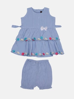 Pastel Blue Embroidered Linen Frock