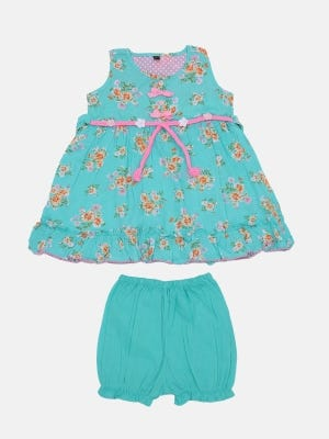 Turquoise Printed Cotton Frock
