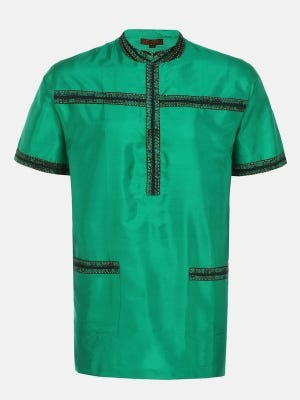 Green Dyed and Embroidered Silk Fatua