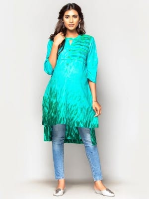 Turquoise Tie-Dyed Cotton Maternity Top
