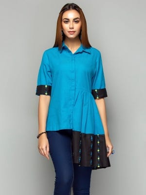 Sky Blue Embroidered Hand Loomed Cotton Shirt