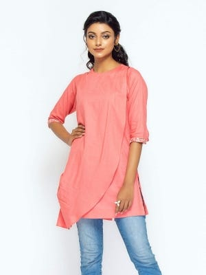Pink Embroidered Viscose-Cotton Top