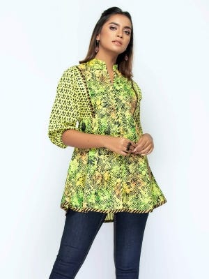 Yellow Green Printed and Painted Cotton Top