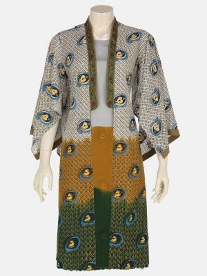 White Tie-Dyed and Embroidered Viscose-Cotton Long Coat
