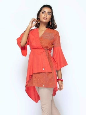 Red Printed and Erri Embroidered Viscose-Cotton Top