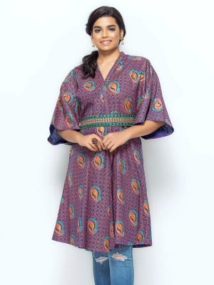 Purple Printed and Embroidered Cotton Long Coat
