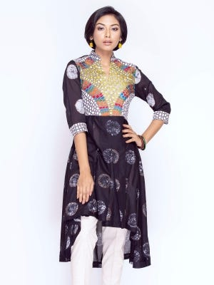 Black Dyed, Printed and Embroidered Voile Top