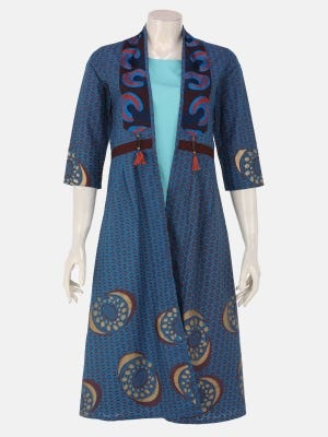 Peacock Blue Printed and Erri Embroidered Cotton Long Coat