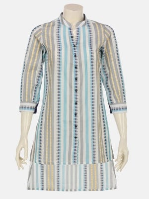 Off White Hand Loomed Cotton Shirt