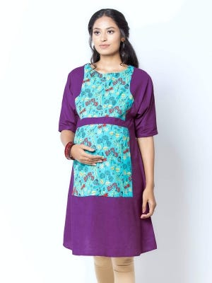 Turquoise Printed and Embroidered Viscose-Cotton Maternity Tops