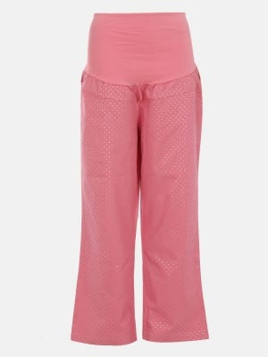 Pink Printed Twill Cotton Maternity Pant