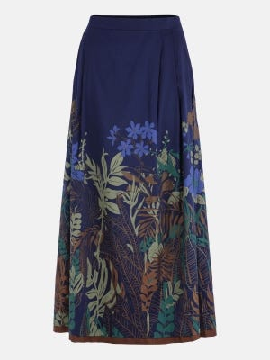 Midnight Blue Printed Mixed Cotton Skirt