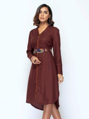 Chocolate Brown Embroidered Viscose Top