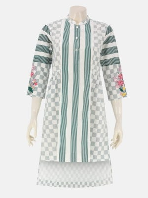 White Printed and Embroidered Viscose-Cotton Top