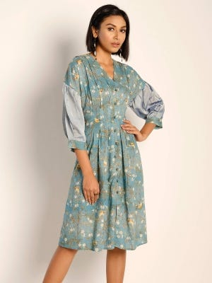 Blue-Grey Printed and Erri Embroidered Cotton Tunic