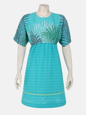 Turquoise  Embroidered Handloom Viscose-Cotton Tops