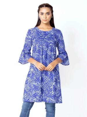 Blue Wax Dyed and Printed Cotton Maternity Tops