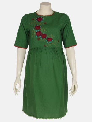 Green Embroidered Viscose-Cotton Maternity Top