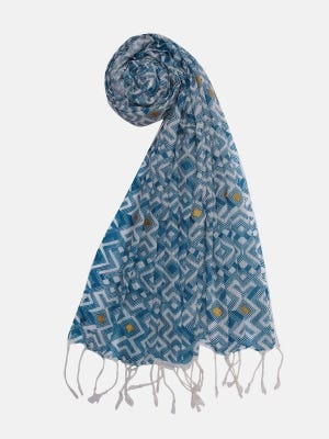 White Printed and Embroidered Cotton Scarf