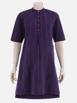Deep Purple Tie-Dyed and Embroidered Handloom Cotton Maternity Top