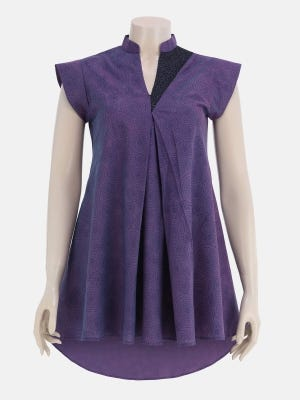 Purple Printed and Embroidered Handloom Cotton Top