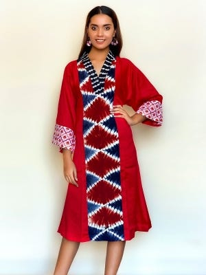 Red Tie-Dyed and Embroidered Viscose-Cotton Tunic