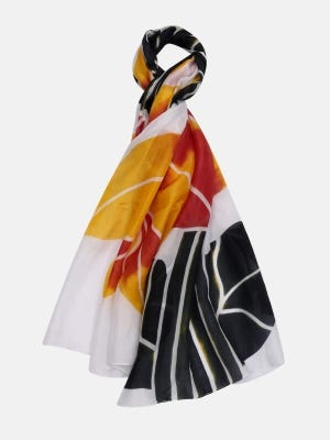 White Hand Painted Silk Scarf
