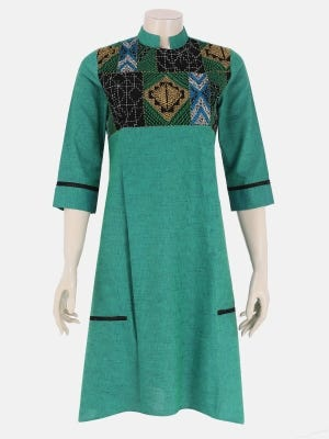 Green Dual Tone Embroidered Cotton Tunic