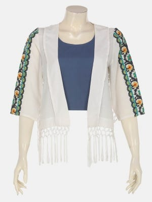 White Embroidered Cotton Short Coat