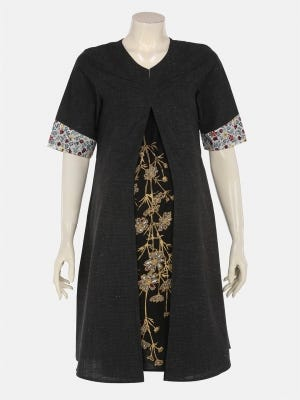 Black Embroidered and Appliqued Cotton Maternity Top