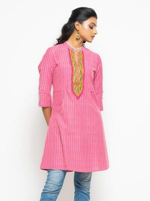 Pink Embroidered Mixed Cotton Tunic