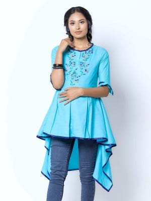 Blue Embroidered Mixed Cotton Maternity Tops