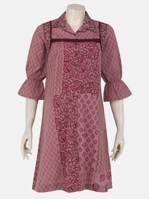 Dusty Pink Printed Cotton Maternity Tops