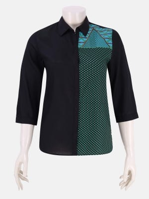 Black Printed and Embroidered Viscose Top