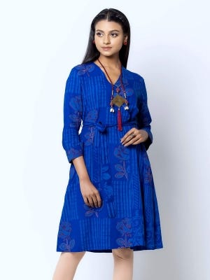 Royal Blue Wax Dyed and Embroidered Viscose Top