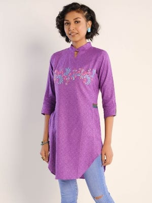 Purple Printed and Embroidered Viscose-Cotton Top