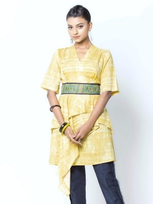 Yellow Wax Dyed and Embroidery Cotton Top