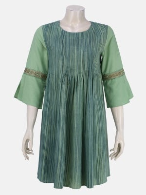Mint Green Brush Painted and Embroidered Viscose Top
