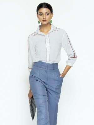White Embroidered Cotton-Linen Shirt