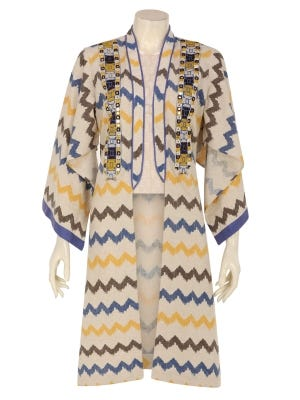Beige Printed and Embroidered Cotton Long Coat