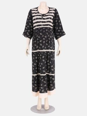 Black Printed Cotton Maternity Sleepwear