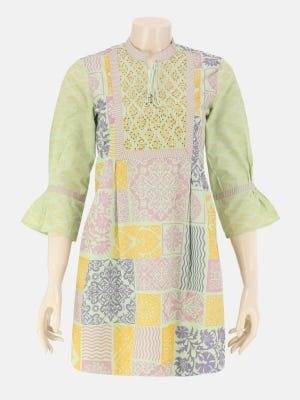 Mint Green Printed and Embroidered Cotton Top