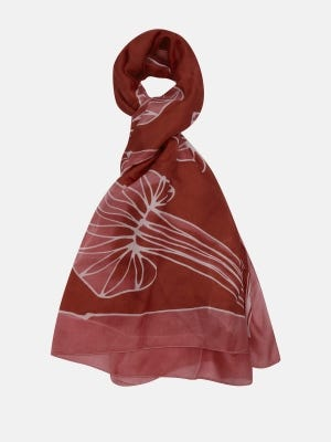Brown Hand Painted Silk Scarf