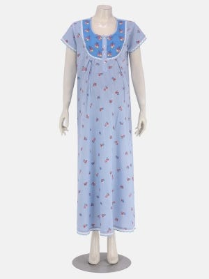 Blue Striped and Embroidered Cotton Maternity Sleepwear