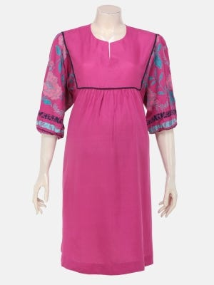 Fuchsia Printed and Embroidered Viscose Maternity Tops