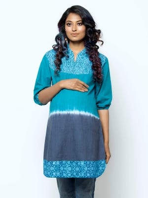 Light Teal Ombre Dyed and Embroidered Cotton Maternity Tops