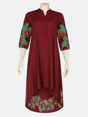 Burgundy Printed and Embroidered Viscose-Cotton Top
