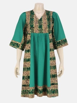 Green Tie-Dyed and Printed Viscose-Cotton Tunic
